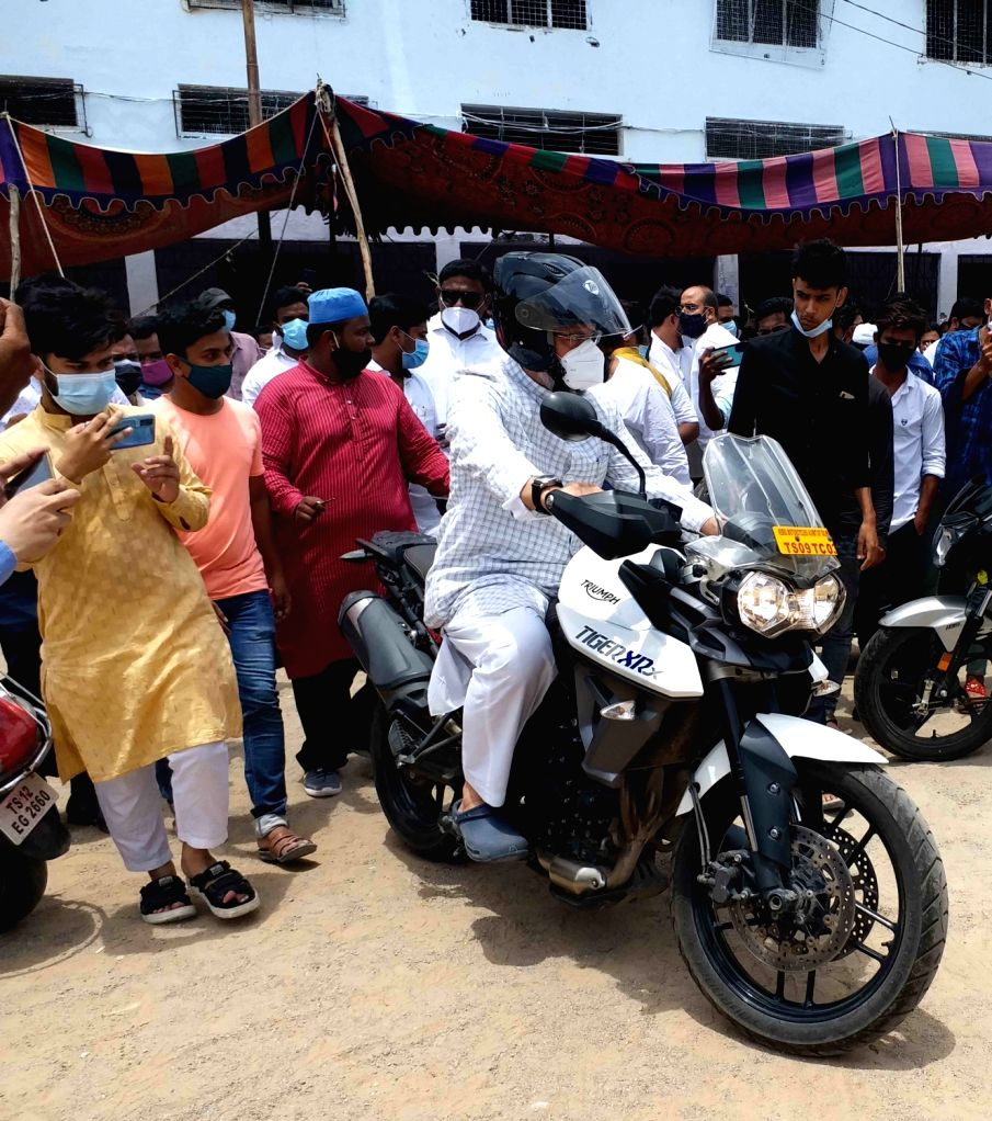 AIMIM supremo and MP Asaduddin Owaisi visit Old city deployment programmers  Self Drive  Bike at Charminar, in Hyderabad, on June 25, 2021.