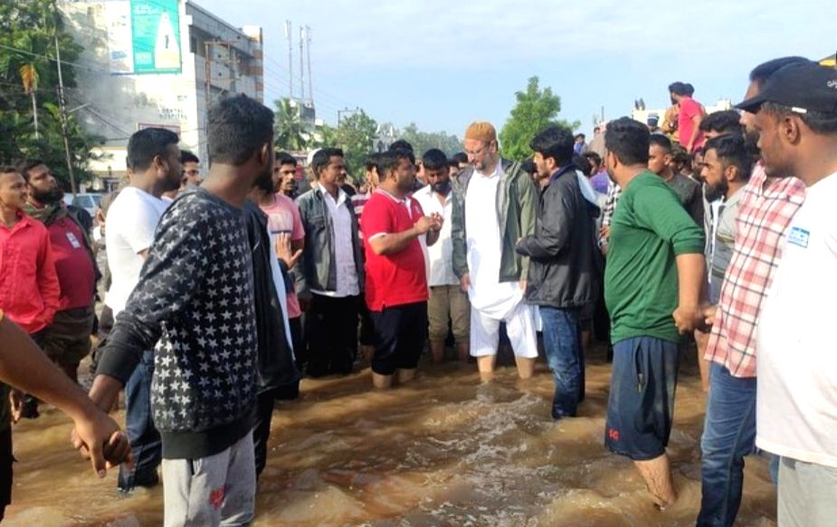 AIMIM supremo Asaduddain Owaisi visits submerged localities in old city Hyderabad on October 18, 2020.