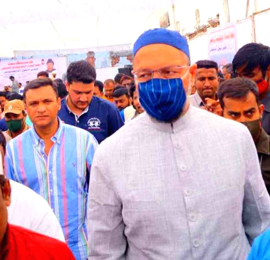 AIMIM supremo Asaduddin Owaisi laying foundation stone of Najamunnisa Education campus owaisi school of excellence 11th Brach Hafez baba nager in Old city Hyderabad, on November 15,2020.