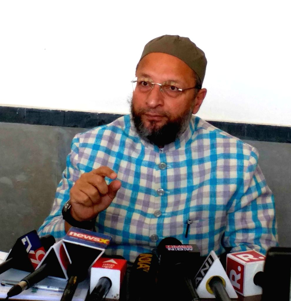 AIMIM supremo Mr  Asaduddin Owaisi Mp, addressing a media conference on winning Gujarat Municipal seats on Thursday 25th February 2021. (Photo: snapsindia/IANS)