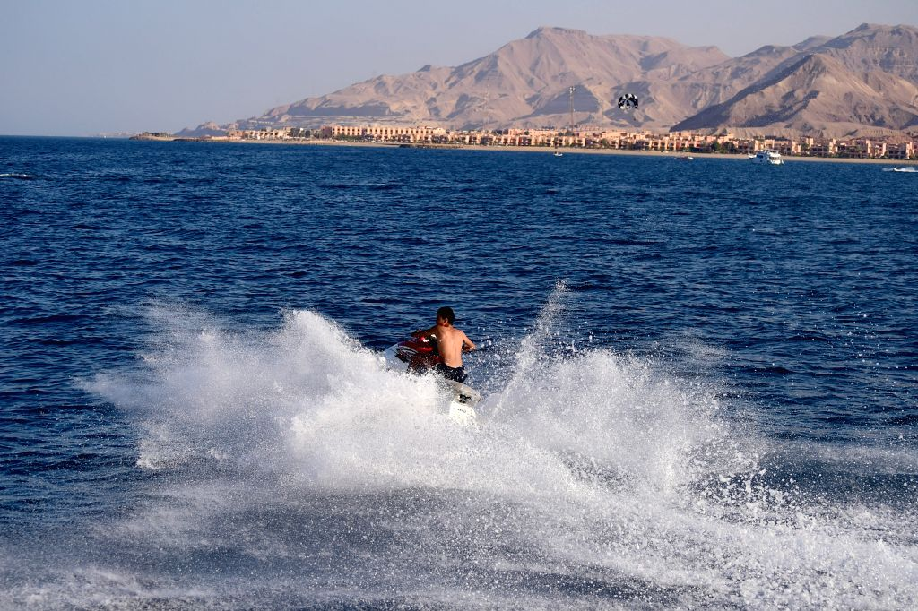 AIN SUKHNA, Sept. 17, 2016 - A teenager drives a motorboat during the Eid al-Adha holiday in the Red Sea city of Ain Sukhna, Egypt, Sept. 16, 2016. Eid al-Adha is one of the most important festivals ...