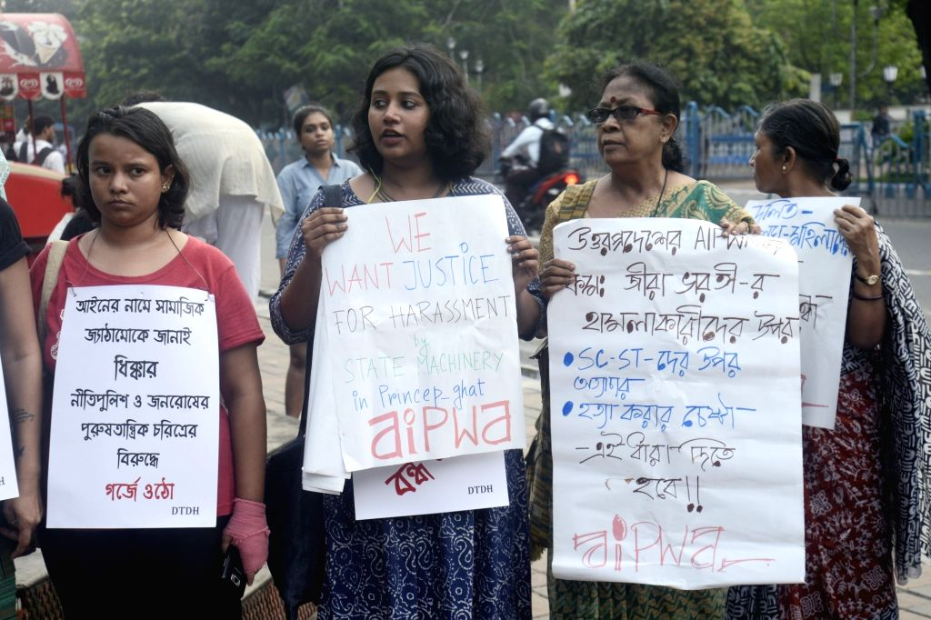 AIPWA activists stage a demonstration against mob lynching and moral policing in Kolkata, on July 6, 2017.