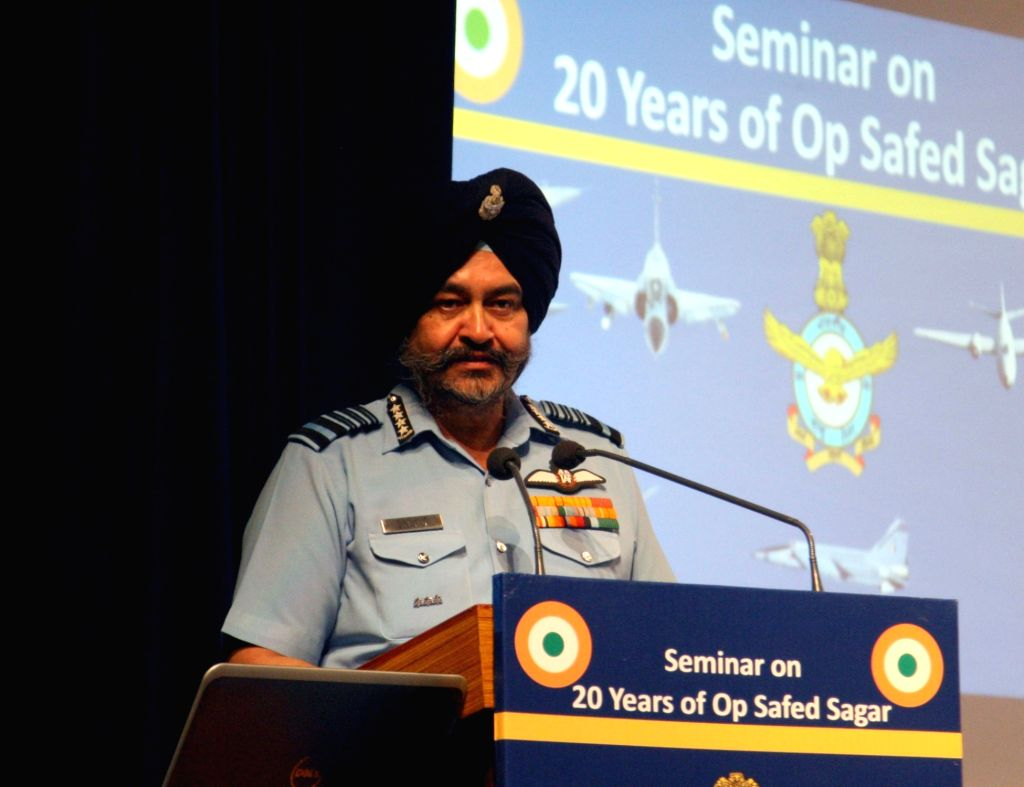 Air Chief Marshal B.S.Dhanoa addresses during a a seminar organised to mark the 20th anniversary of Operation Safed Sagar, in New Delhi on July 16, 2019.