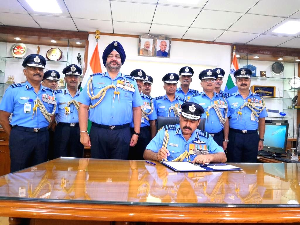 Air Chief Marshal Rakesh Kumar Singh Bhadauria takes charge as the 26th Chief of the Indian Air Force, in New Delhi on on Sep 30, 2019. Bhaduaria took over from his predecessor Air Chief ...