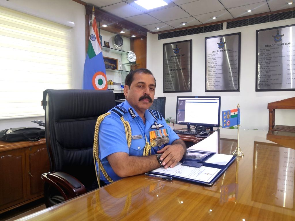 Air Chief Marshal Rakesh Kumar Singh Bhadauria takes charge as the 26th Chief of the Indian Air Force, in New Delhi on Sep 30, 2019.
