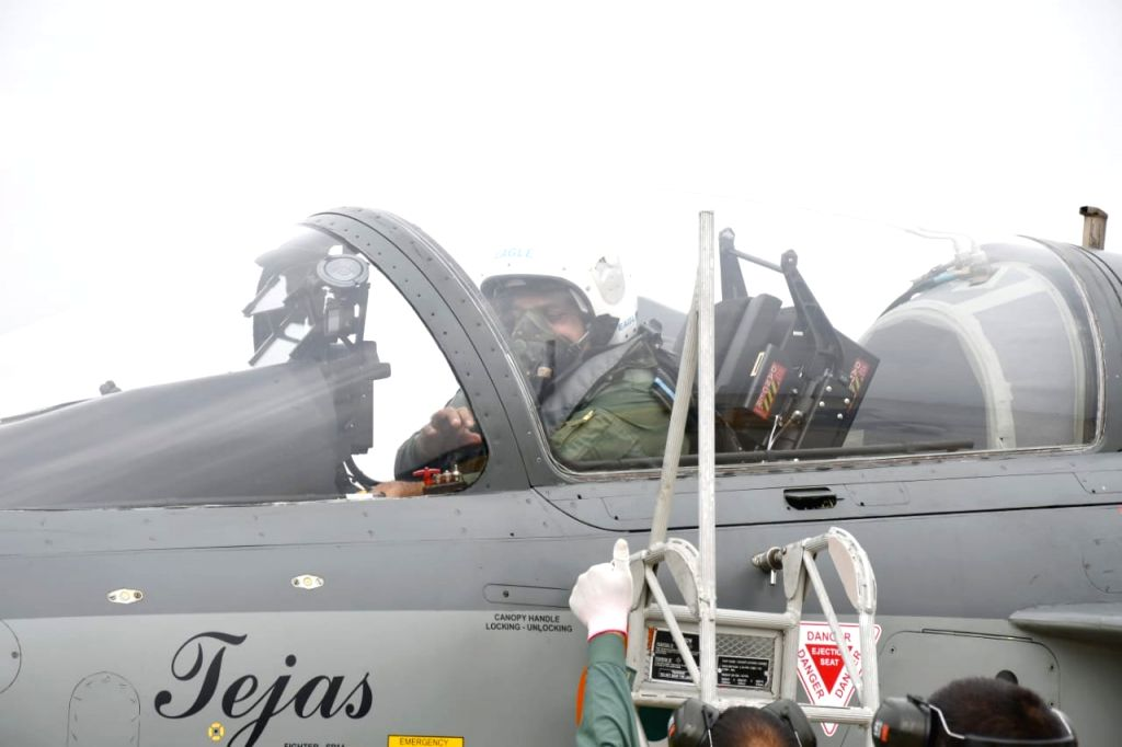 Air Chief Marshal RKS Bhadauria flew LCA Tejas fighter on Wednesday at Sulur, TN.