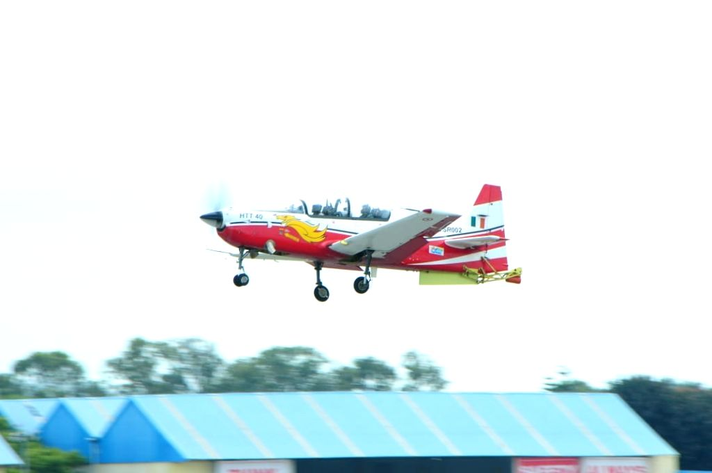 Air Chief Marshall R. K. S. Bahaduria flying HAL HTT-40 trainer prototype in Bengaluru.
