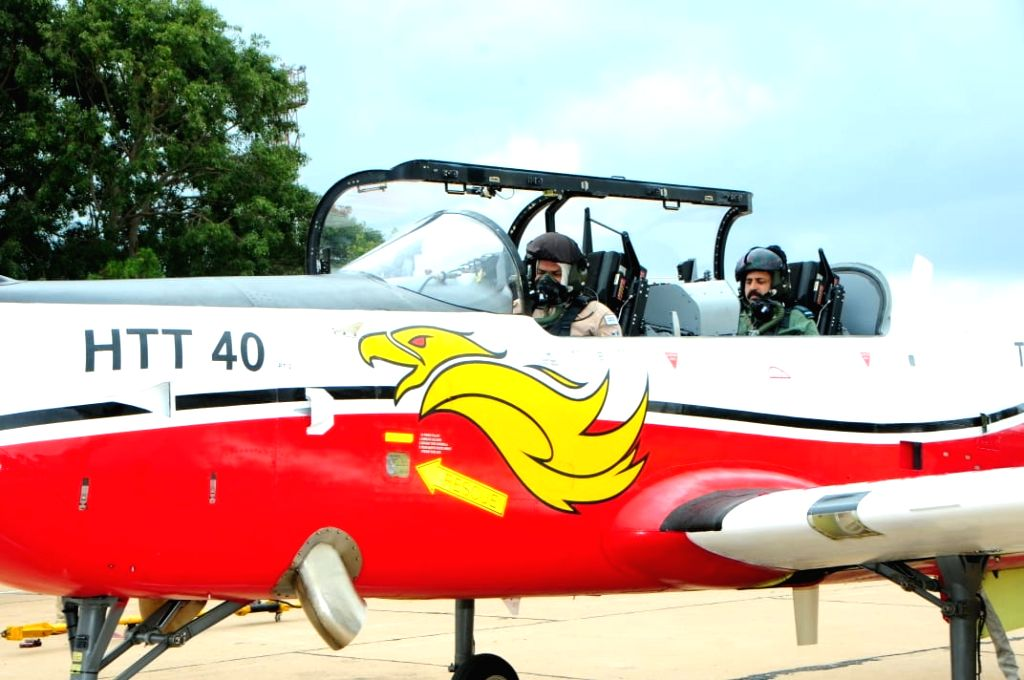 Air Chief Marshall R. K. S. Bahaduria in the HAL trainer HTT-40's cockpit in Bengaluru.