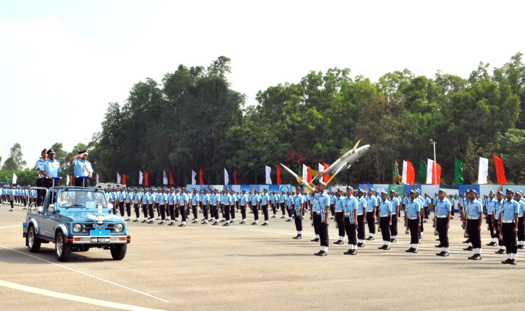Air Commodore, Rajeev Pandey, Command Engineering officer, Headquarters Training Command, Indian Air Force, reviews the passing out Parade at Air Force Station, Jalahalli, in Bengaluru, on ... - Rajeev Pandey
