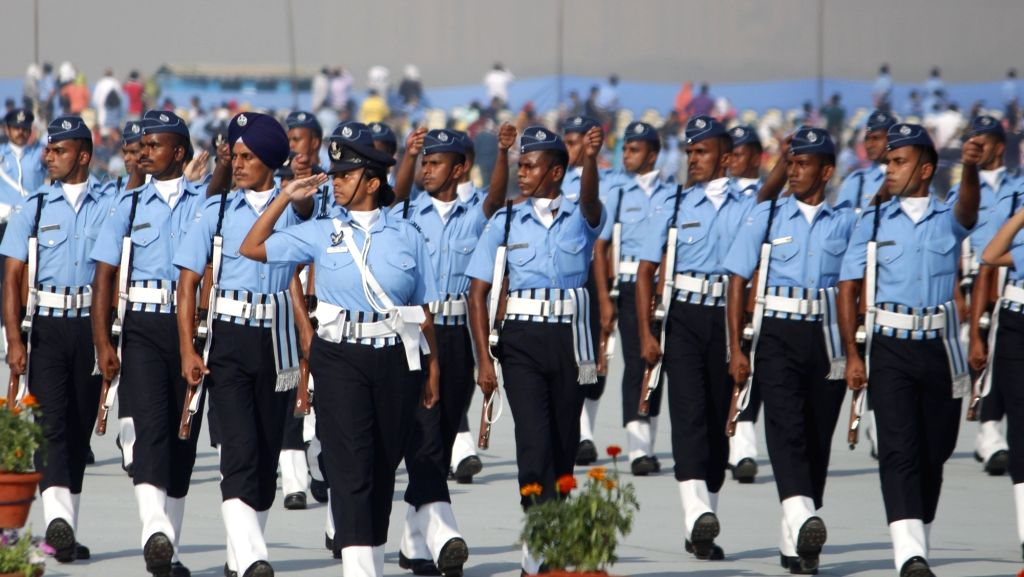 Air Force officers march past during the 88th Air Force Day celebrations at Hindon Air Force Station in Ghaziabad, Uttar Pradesh on Oct 8, 2020.