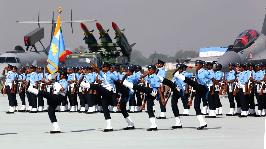 Air Force personnel during the 87th anniversary celebrations of the Indian Air Force (IAF) at Hindon Air Force Station in Ghaziabad, on Oct 8, 2019.