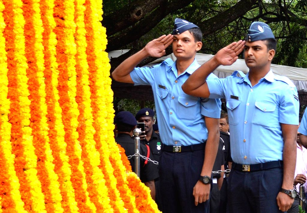 Air Force personnel pay tributes to martyrs on the 20th Anniversary of Kargil Vijay Diwas, at the National Military Memorial in Bengaluru on July 26, 2019.