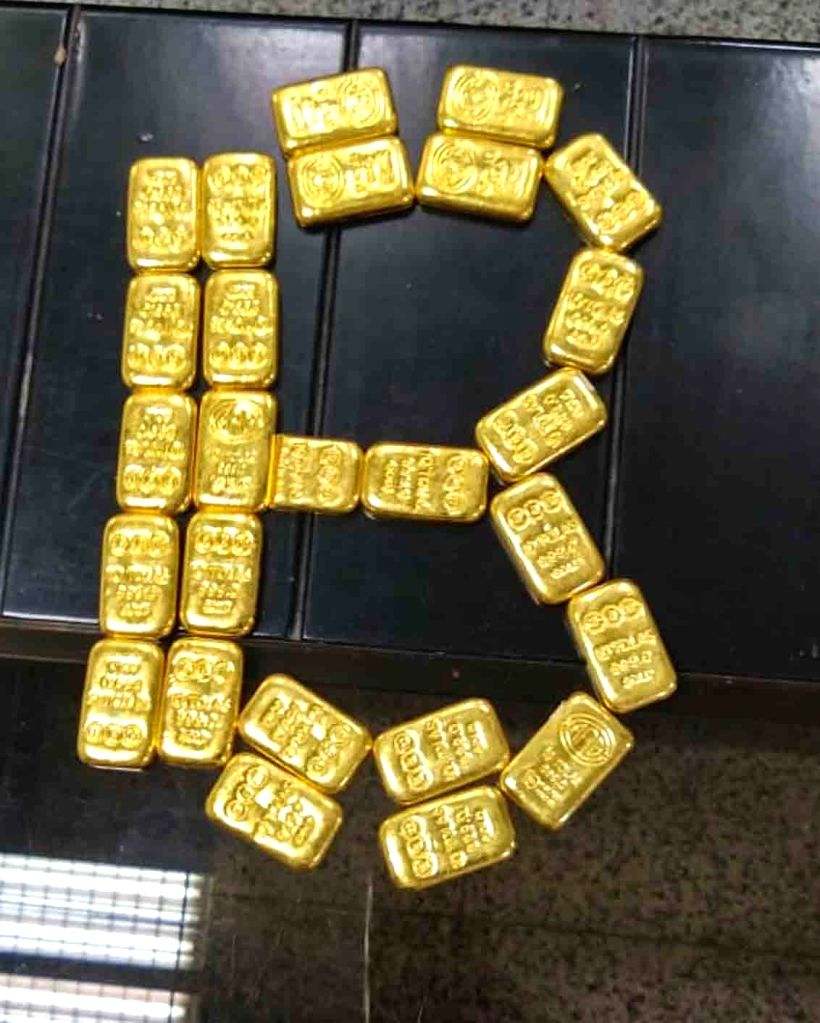 Air Intelligence Unit of Hyderabad Customs seized 26 gold bars worth nearly Rs 1.11 from a passenger arriving from Sharjah, at Shamshabad Airport in Hyderabad on Aug 25, 2019.
