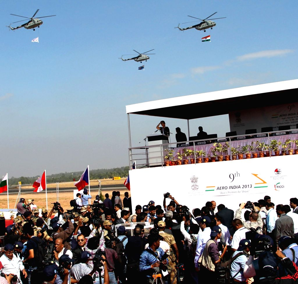 Air show during 9th Edition of Aero India Show 2013 at Yelahanka Air force Station in Bengaluru on Wednesday 6th of February 2013.