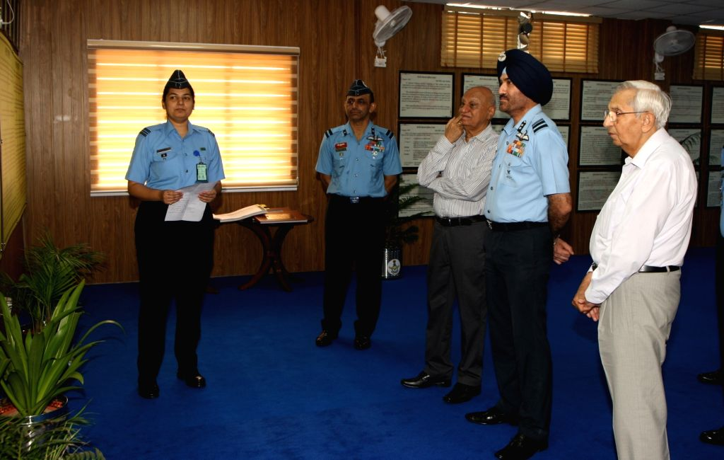 Air Vice Marshal GS Bedi, Assistant Chief of Air Staff (Personnel Officers) and other veterans being briefed about various aspects of AFRO History Cell and Museum which was inaugurated ...