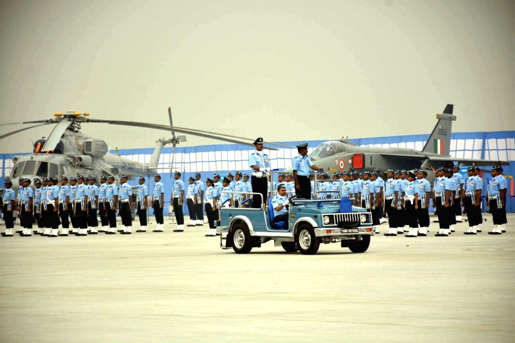 Air warriors participate during Full dress rehearsals ahead of Air Force Day at Hindon Air Force base in Ghaziabad on Oct 6, 2016.