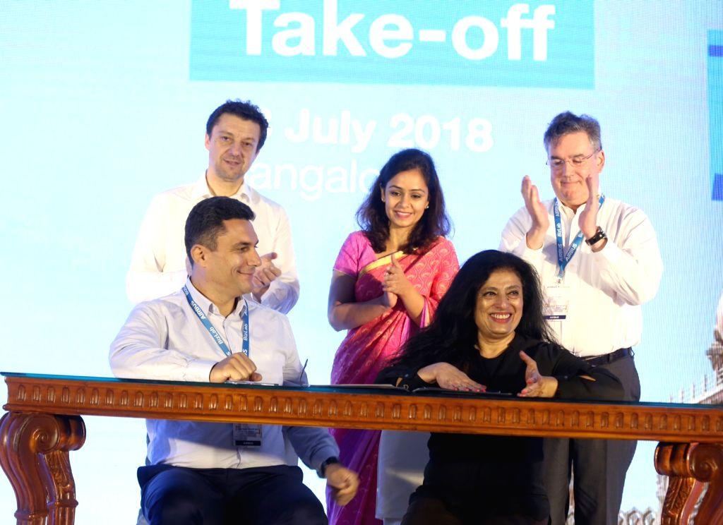 Airbus BizLab Head Bruno Gutierres and Airbus Group India Pierre Bausset during Airbus BizLab's start-up acceleration programme 'TAKE OFF 2018' in Bengaluru on July 13, 2018.