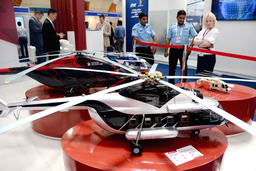 "Aircraft models on display at a Russian Helicopters stall at ""Aero India 2019"" at Yelahanka Air Force Station, in Bengaluru, on Feb 21, 2019."
