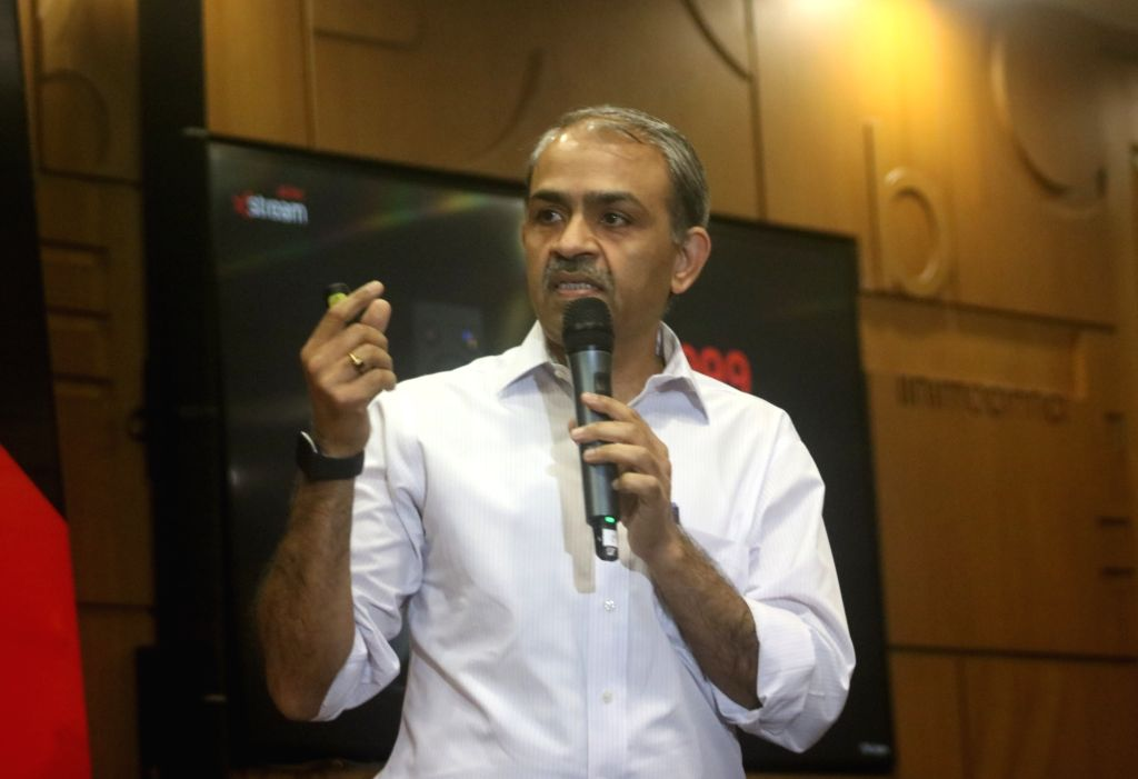 Airtel DTH CEO and Director Sunil Taldar addresses a press conference at the launch of Airtel Xstream in New Delhi on Sep 2, 2019.