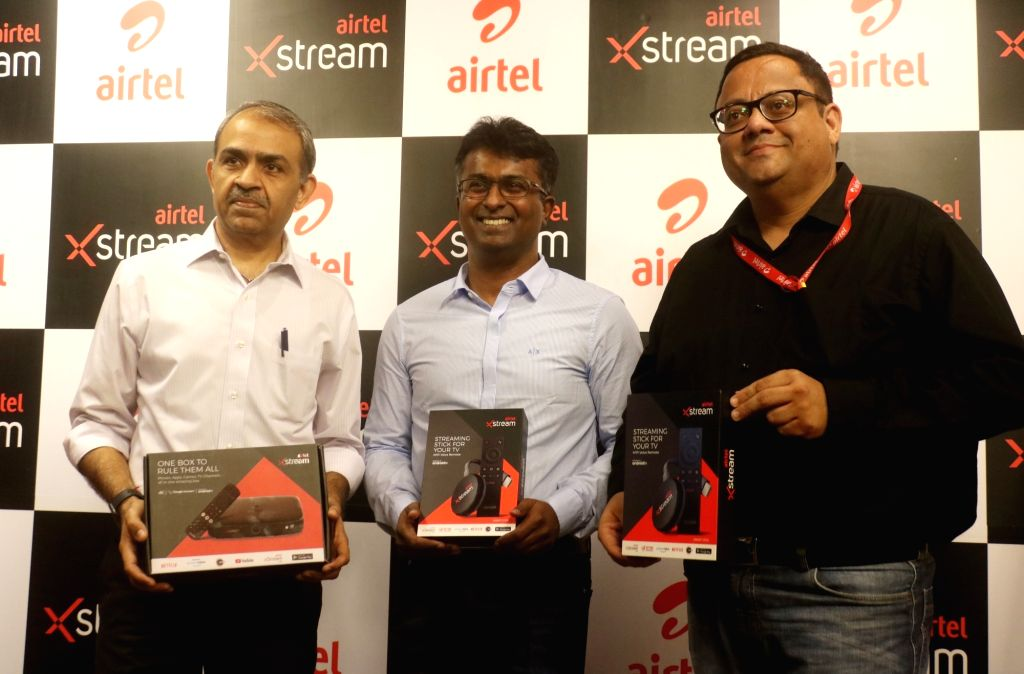 Airtel DTH CEO and Director Sunil Taldar, Bharti Airtel Chief Product Officer Adarsh Nair and CEO (Content & Apps) Sameer Batra during a press conference at the launch of Airtel ...