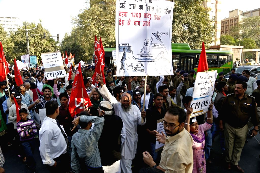 AISA activists stage a demonstration against demonetisation in New Delhi on Nov 26, 2015.