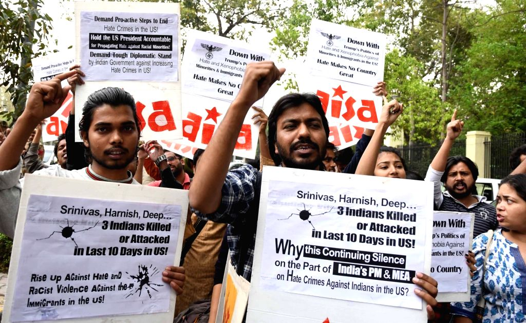 AISA activists stage a demonstration against attacks on Indians in the US near US Embassy in New Delhi on March 9, 2017.