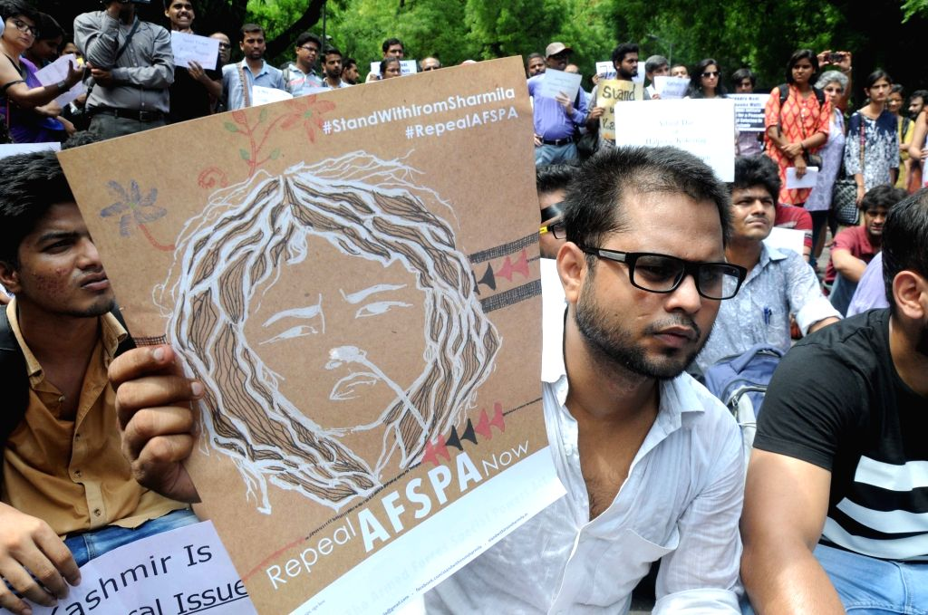 AISA activists stage a demonstration to press for political solution for Kashmir in New Delhi on July 13, 2016.
