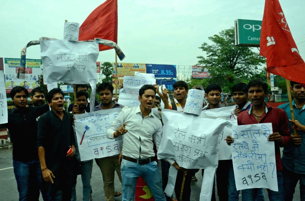 AISA activists stage a demonstration to press for their various demands in Patna on July 7, 2017.
