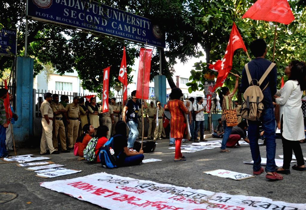 AISA activists stage demonstrate against education policy of the central government in Kolkata, on Nov 2, 2015.