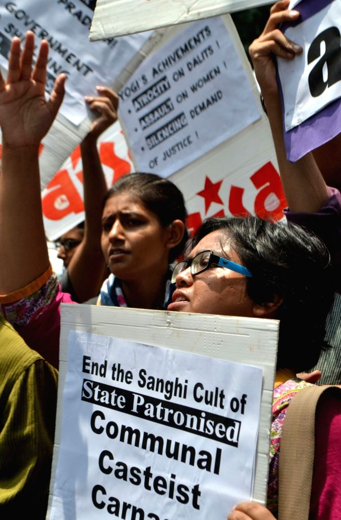 """AISA demonstration: AISA activists participate in """"Rise Up against Terror Raj"""" outside UP Bhavan on June 10, 2017."""