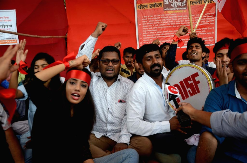 AISF activists stage a demonstration to press for their demands in Mumbai on May 25, 2018.