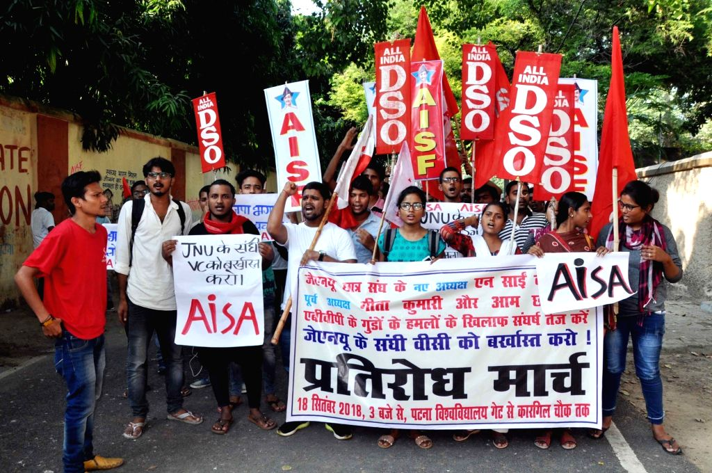 AISF and AIDSO activists stage a demonstration against alleged attack on JNUSU President N Sai Balaji; in Patna on Sept 18, 2018.