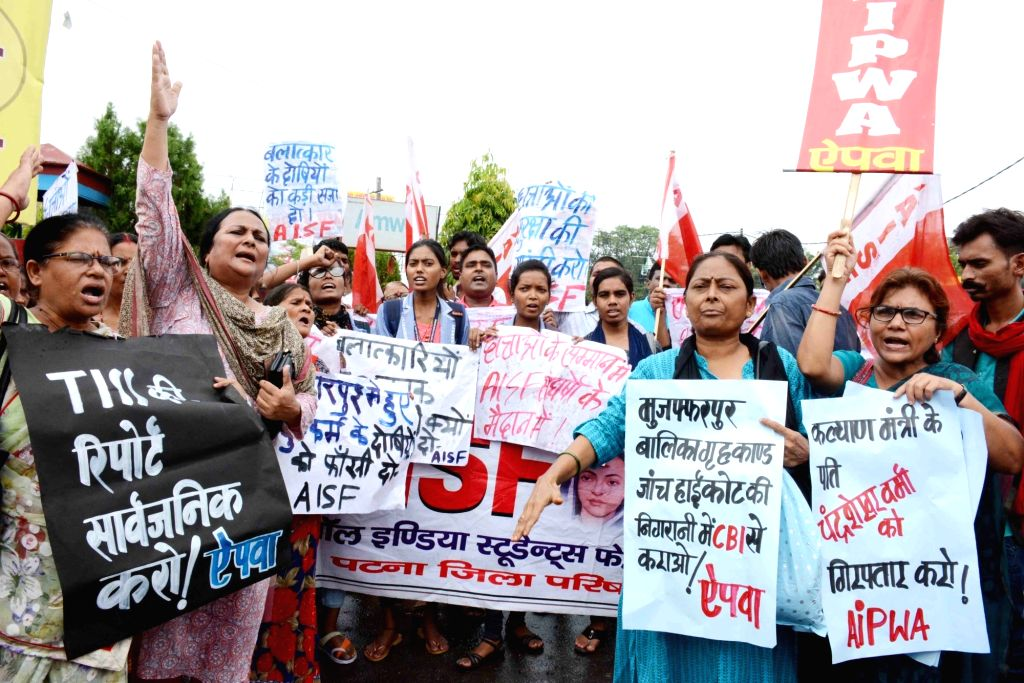AISF and AIPW activists stage a demonstration against Muzaffarpur shelter home rapes in Patna on July 30, 2018.