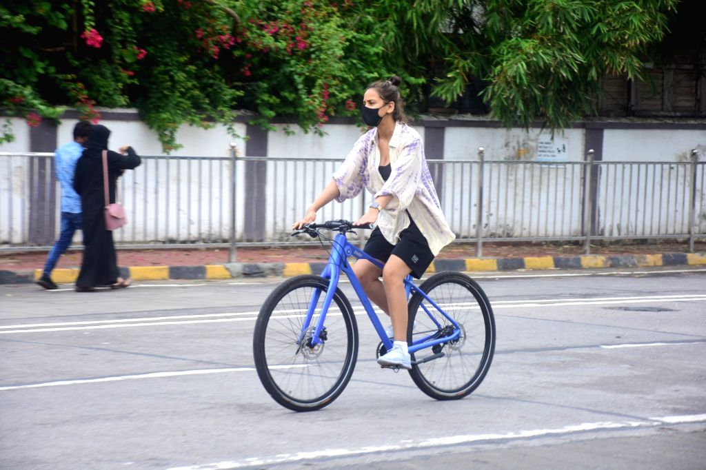 Aisha Sharma Spotted Riding Cycle On The Street In Bandra on 10 june,2021.
