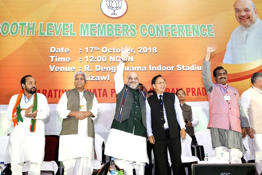 :Aizawl: BJP chief Amit Shah during a party programme in Aizawl, Mizoram on Oct 17, 2018. (Photo: IANS).