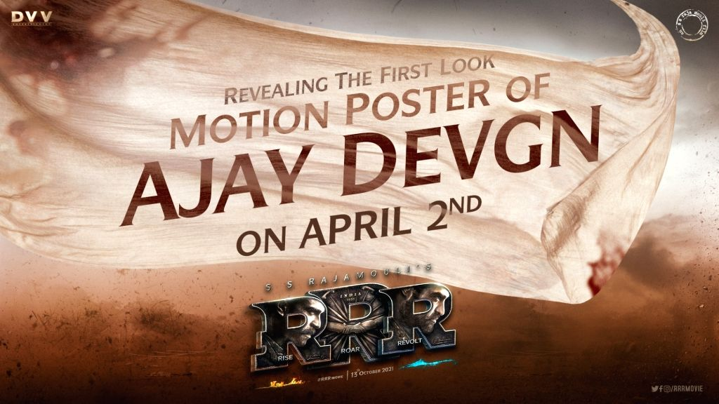"""Ajay Devgan's look from the film """"RRR"""" will be released on April 2."""