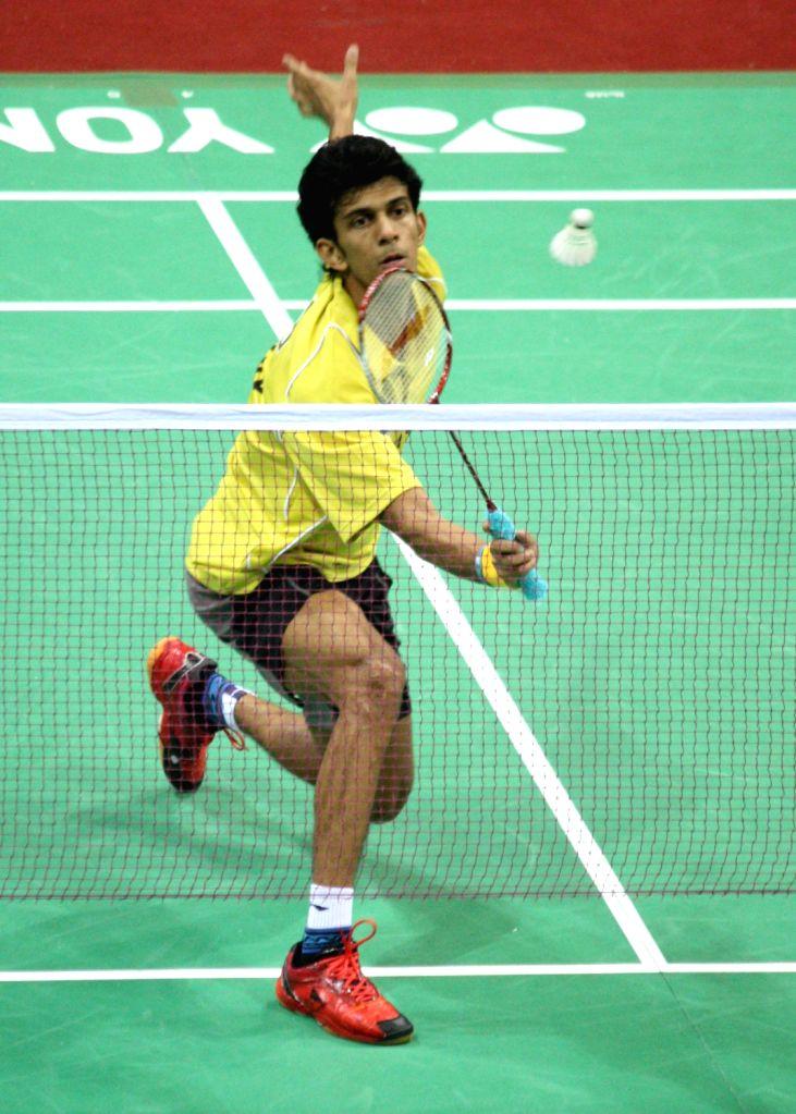 Ajay Jayaram of Hyderabad Hotshots in action at the Indian Badminton League in New Delhi on August 15, 2013. (Photo::: IANS)