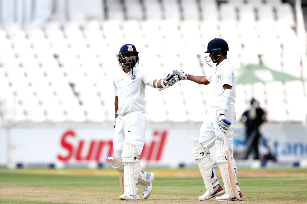 Ajinkya Rahane and Bhuvneshwar Kumar of India during Day 3 of the third Test match between South Africa and India at the Wanderers Stadium in Johannesburg, South Africa on Jan 26, 2018. - Bhuvneshwar Kumar