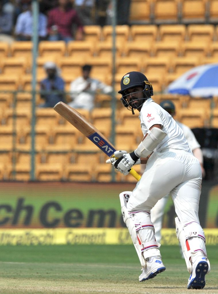Ajinkya Rahane of India in action during the third day of the second test match between India and Australia at M. Chinnaswamy Stadium in Bengaluru on March 6, 2017. (Photo: IANS)