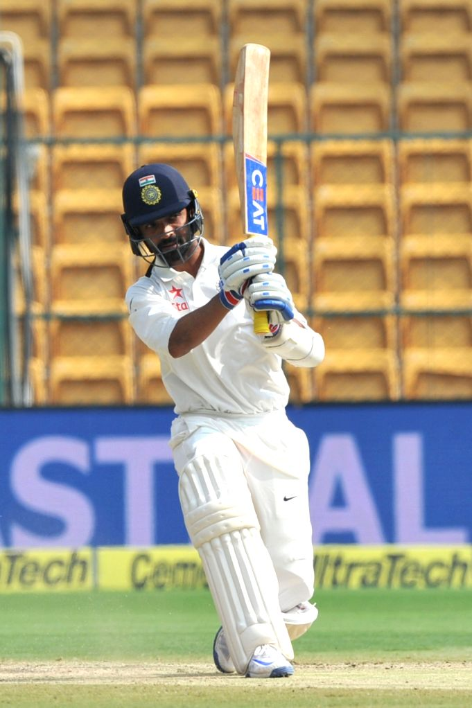 Ajinkya Rahane of India in action during the fourth day of the second test match between India and Australia at M. Chinnaswamy Stadium in Bengaluru on March 7, 2017. (Photo: IANS)