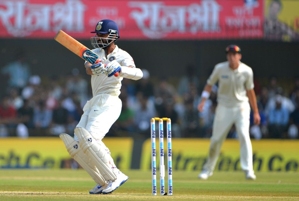 Ajinkya Rahane of India in action on the second day of the third test match between India and New Zealand at Holkar stadium in Indore on Oct 9, 2016.