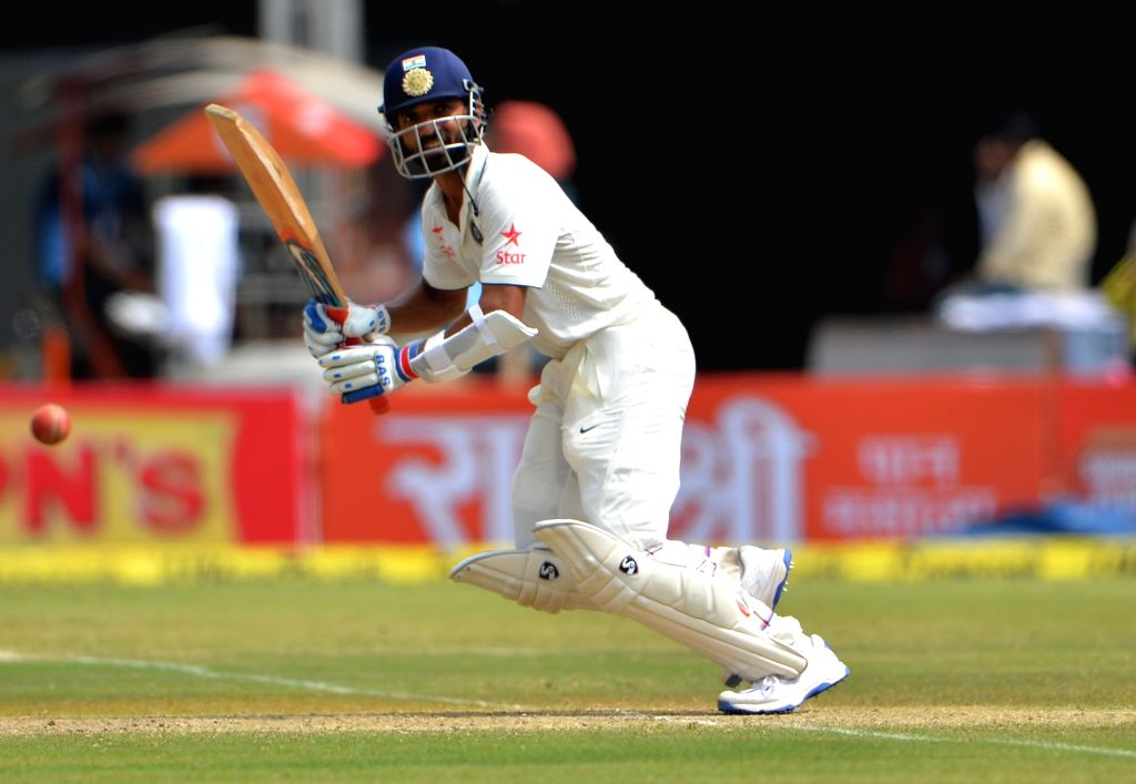 Ajinkya Rahane of India on the second day of the third test match between India andNew Zealand at Holkar stadium in Indore on Oct 9, 2016.