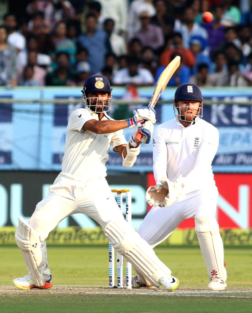 Ajinkya Rahane of India plays a shot during day three of the 2nd test match between India and England at the Dr. Y.S. Rajasekhara Reddy ACA-VDCA Cricket Stadium in Visakhapatnam on ...
