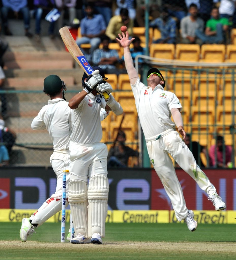 Ajinkya Rahane of India plays a shot during the third day of the second test match between India and Australia at M. Chinnaswamy Stadium in Bengaluru on March 6, 2017. (Photo: ...