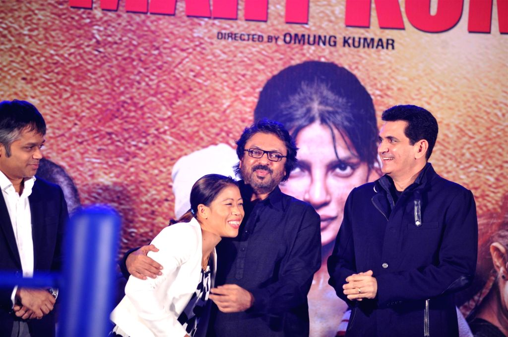 Ajit Andhare, COO, Viacom 18 Motion Pictures, Indian boxer Mary Kom, filmmakers Sanjay Leela Bhansali and Omung Kumar during the music launch of film Mary Kom in Mumbai on August 13, 2014. - Mary Kom and Omung Kumar