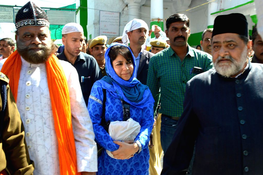 PDP leader Mehbooba Mufti visits the dargah (shrine) of Khwaja Moinuddin Chishti in Ajmer on March 18, 2015.