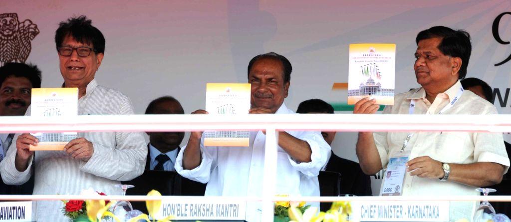 AK Anthony, Union Defence Minister releasing ``Karnataka Aerospace Policy 2013-2023`` with Karnataka Chief Minister Jagadish Shetter and Shri Ajit Singh, Minister for Civil Aviation during the ... - Jagadish Shetter and Shri Ajit Singh