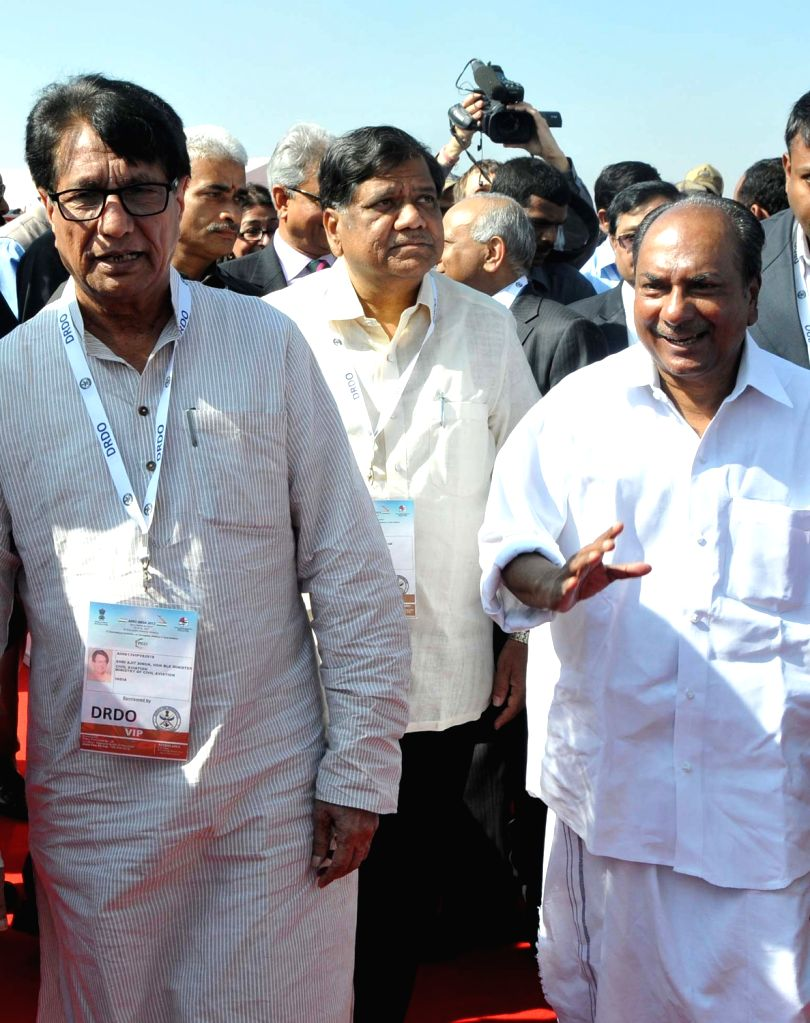AK Anthony, Union Defence Minister with Karnataka Chief Minister Jagadish Shetter and Shri Ajit Singh, Minister for Civil Aviation arriving at the inauguration of 9th Edition of Aero India Show 2013 . - Jagadish Shetter and Shri Ajit Singh