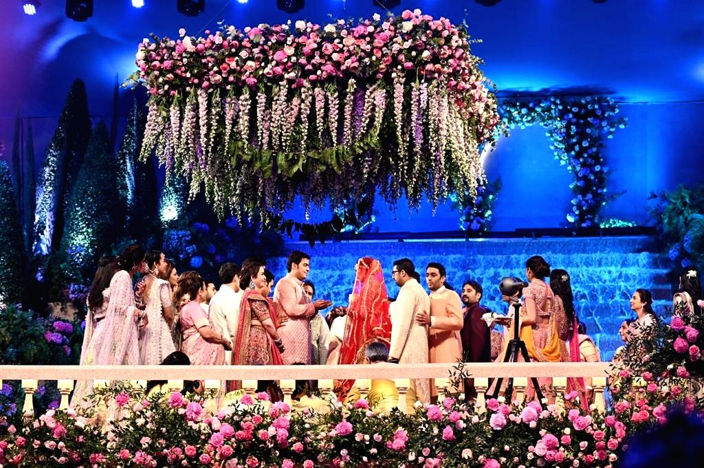 Akash Ambani and Shloka Mehta during their wedding in Mumbai on March 9, 2019. - Akash Ambani and Shloka Mehta