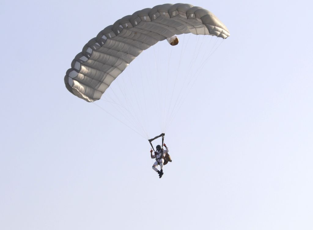 Akash Ganga - the 14 member Skydiving team of the Indian Air Force - performs during Air Force Day Parade 2020 at Hindon Air Force Station in Ghaziabad, Uttar Pradesh on Oct 8, 2020.